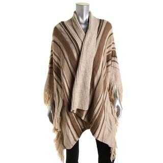 LRL Lauren Jeans Co. Womens Wool Blend Striped Poncho Sweater - L