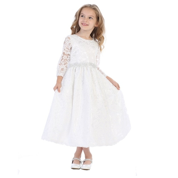 a6f02cdfe5916 Girls White Silver Corded Floral Trim Lace Flower Girl Communion Dress