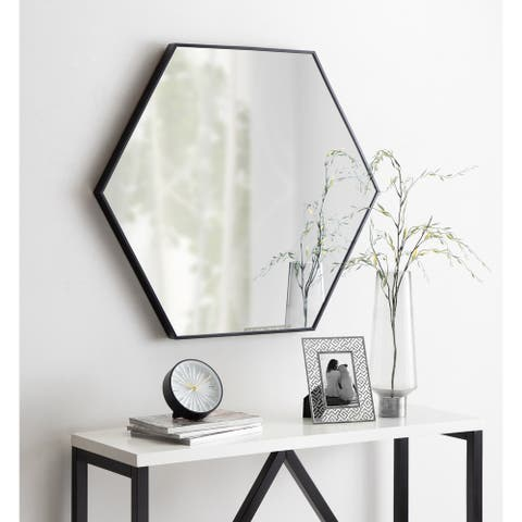 Kate and Laurel Rhodes 6-Sided Hexagon Wall Mirror - 30.75x34.75