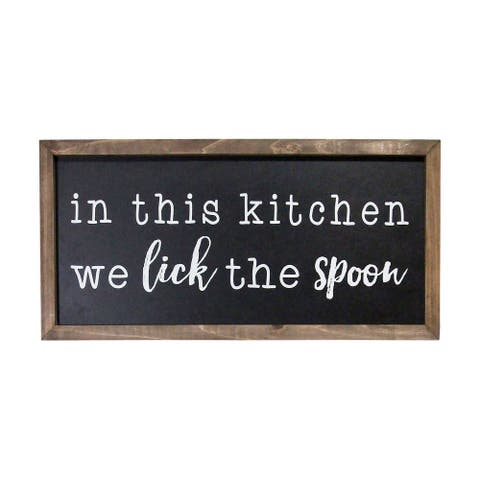 Stratton In this Kitchen We Lick the Spoon Wood Wall Art - Black, Natural wood