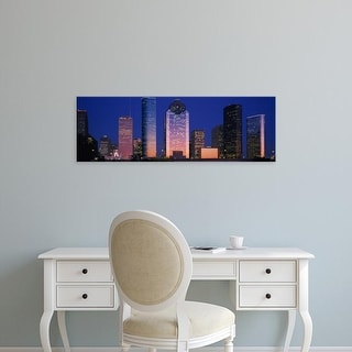 Easy Art Prints Panoramic Images's 'Skyscrapers lit up at night, Houston, Texas, USA' Premium Canvas Art