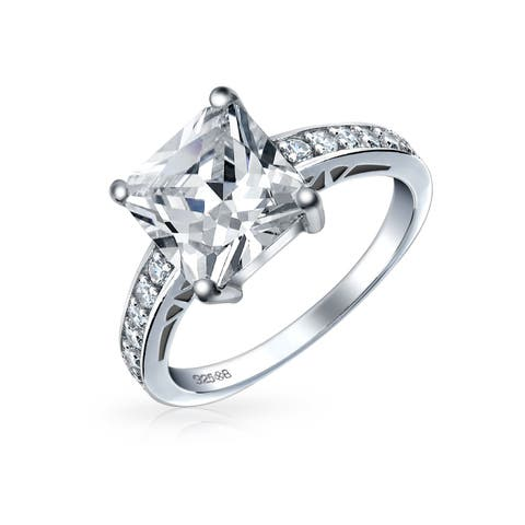 Simple 2.5 CT Cubic Zirconia Brilliant Princess Cut AAA CZ Solitaire Engagement Ring Thin Pave Band 925 Sterling Silver