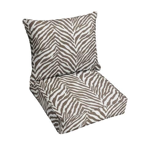 Sunbrella Grey Zebra Indoor/Outdoor Pillow and Cushion Set, Corded