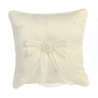 Ivory Satin Pearled Flowers Ring Bearer Pillow