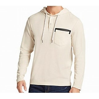 William Rast NEW Beige Mens Size Large L Pleather Patch Hooded Sweater