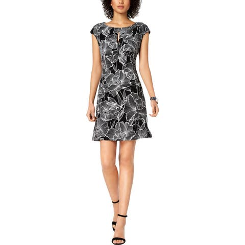 Connected Apparel Womens Sheath Dress Keyhole Floral