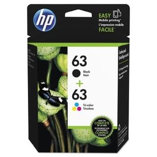 HP 63 Black & Tri-color Original Ink Cartridges, 2 Cartridges (F6U61AN, F6U62AN)