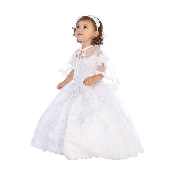 b02ea9f4eae11 Angels Garment Little Girls White Sequin Embellished Baptism Dress
