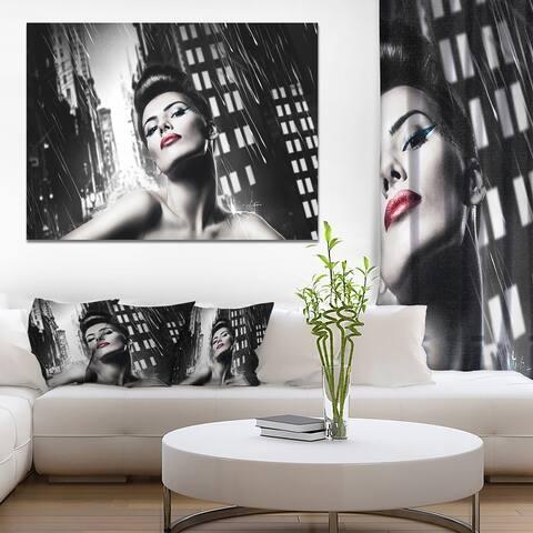 Designart 'Brunette Woman with Red Lips' Woman Portrait Canvas Art Print