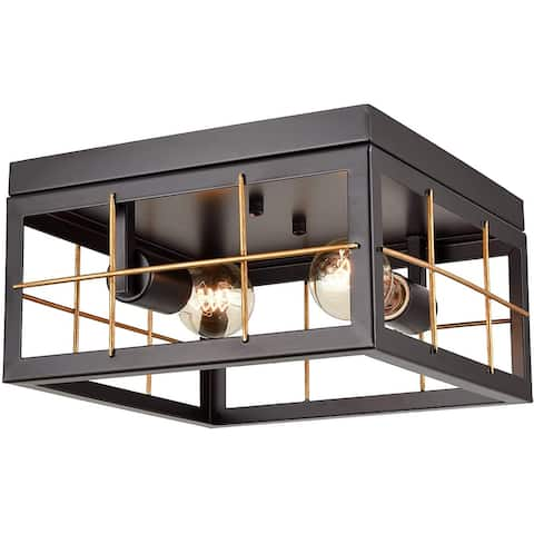 Bonucci Farmhouse Black & Brass Flush Mount Ceiling Light - Black & Brass