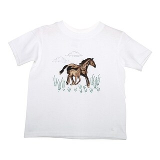 Little Girls White Embroidered Horse And Foal Detail Cotton T-Shirt
