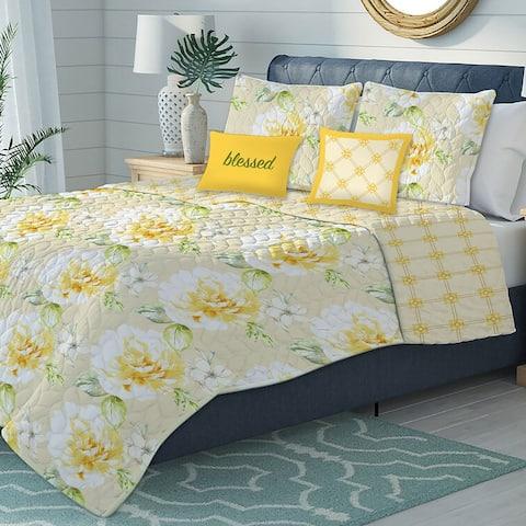 Premius Selina Oversized 5-Piece Floral Reversible Quilt Set, Yellow