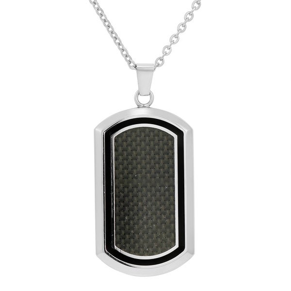 Oxford Ivy Men's Stainless Steel and Carbon Fiber Dog Tag Necklace on a 22 inch chain