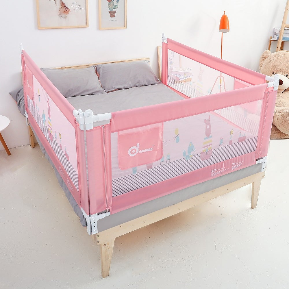 "70in Pink Bed Rail Infant Safety Assist Double Full Size Queen & King, 1 Pack - 7'10"" x 9'16"" (Yellow - 7'10"" x 9'16"")"