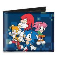 Sonic Classic Sonic 4 Character Group Pose + Doctor Eggman Digital Camo Canvas Bi-Fold Wallet One Size - One Size Fits most