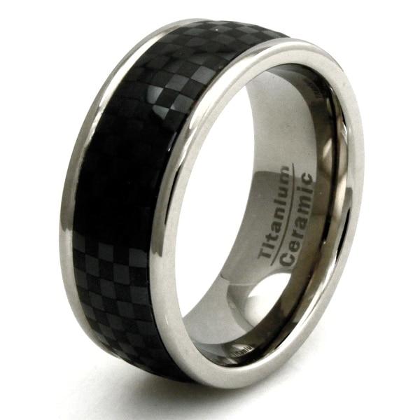 Titanium Ring with Black Carbon Fiber Ceramic Inlay Band Design