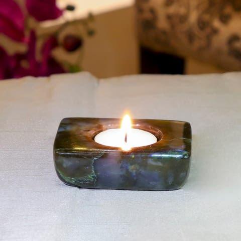 Evaluesell Labradorite Tea Light Holder Handmade - 85 x 65 x 25 mm
