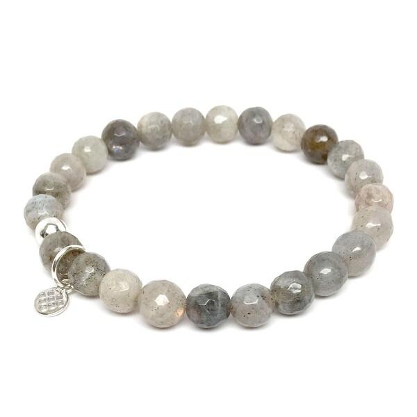 Grey Labradorite Lucy 7 Sterling Silver Stretch Bracelet