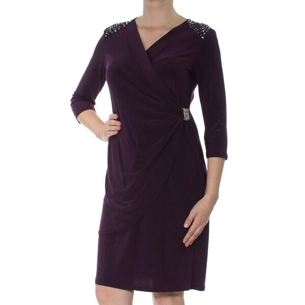 R&M RICHARDS Womens Purple Embellished 3/4 Sleeve V Neck Knee Length Faux Wrap Cocktail Dress Size: 8