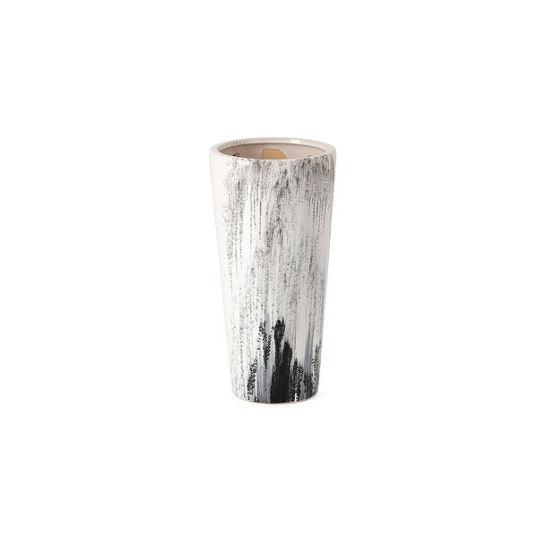 """11"""" White and Black Pele Handcrafted Small Tabletop Vase - N/A"""