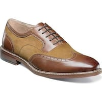 Stacy Adams Men's Ansley Wingtip Oxford 25130 Brown/Tan Antiqued Leather/Suede