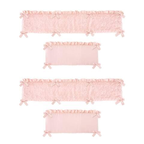 Pink Floral Rose Girl Baby Crib Bumper Pad - Solid Light Blush Flower Luxurious Elegant Princess Vintage Boho Shabby Chic Roses
