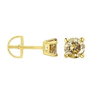 Prism Jewel 2.80mm 0.16Ct Round Cut Brown Color Diamond Screw Back Stud Earring