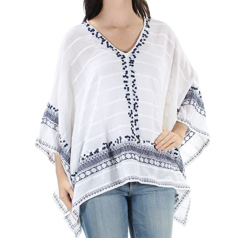 MICHAEL KORS Womens White Sequined Embroidered Dolman Sleeve V Neck Top Size: S