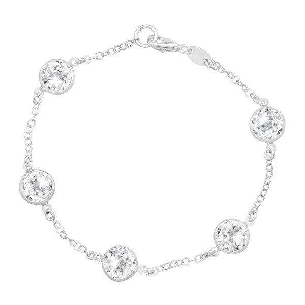 Crystaluxe Station Bracelet with Swarovski Crystals in Sterling Silver - White
