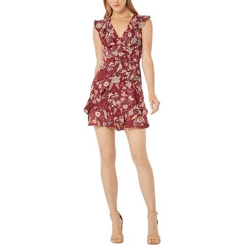 BCBG Max Azria Women's Ruffled Floral Print V-Neck Mini Dress - Deep Red Floral