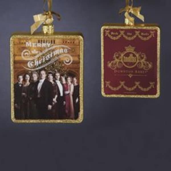 "4.25"" Downton Abbey Family Portrait Glass Christmas Ornament - RED"