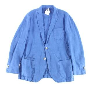 Designer NEW Solid Blue Mens Size Medium M Seamed Two-Button Jacket|https://ak1.ostkcdn.com/images/products/is/images/direct/f6240bb0c8c3380070fa61d509456d2164b99e6f/Designer-NEW-Solid-Blue-Mens-Size-Medium-M-Seamed-Two-Button-Jacket.jpg?impolicy=medium