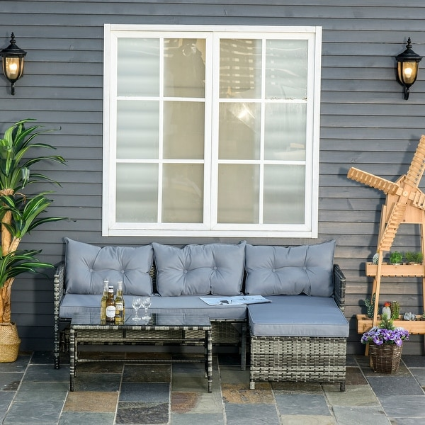 Outsunny 3-Piece Rattan Patio Furniture Sofa Set Lounge Chaise Cushioned for Garden Poolside or Porch Lounging. Opens flyout.