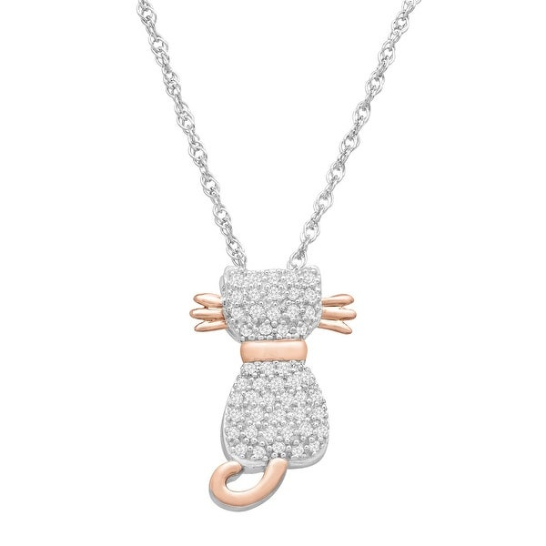 1/5 ct Diamond Cat Pendant Necklace in Sterling Silver & 14K Rose Gold