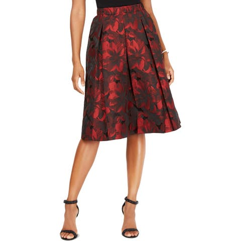 MSK Womens Midi Skirt Floral Print Knee-Length