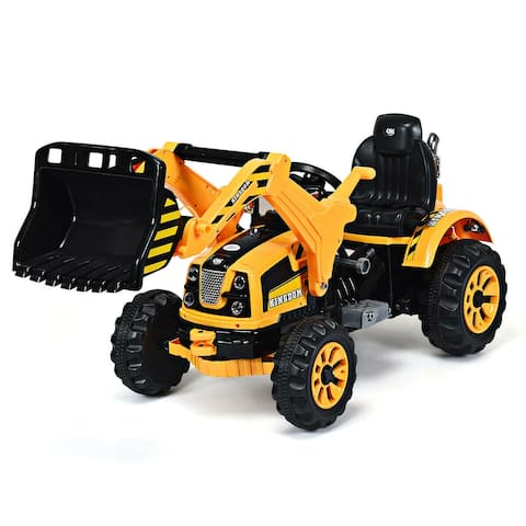 Costway 12V Battery Powered Kids Ride On Excavator Truck With Front