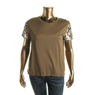 MICHAEL Michael Kors Womens Modal Sequined Casual Top
