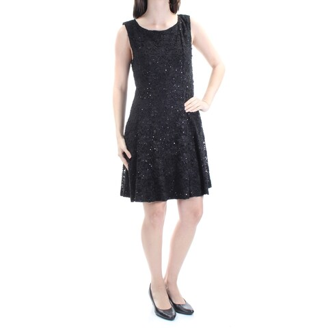 CONNECTED Womens Black Sequined Lace Sleeveless Jewel Neck Above The Knee Sheath Cocktail Dress Petites Size: 6