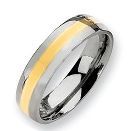 Chisel 14k Gold Inlaid Polished Titanium Ring (6.0 mm)