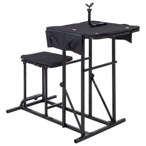Gymax Folding Shooting Bench Seat with Adjustable Table Gun Rest