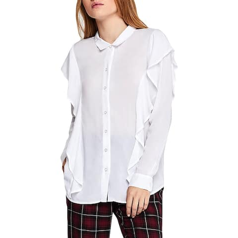 BCBGeneration Womens Button-Down Top Ruffled Point Collar