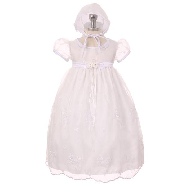 Kids Dream Baby Girls White Organza Embroidered Bonnet Christening Dress - 24 months