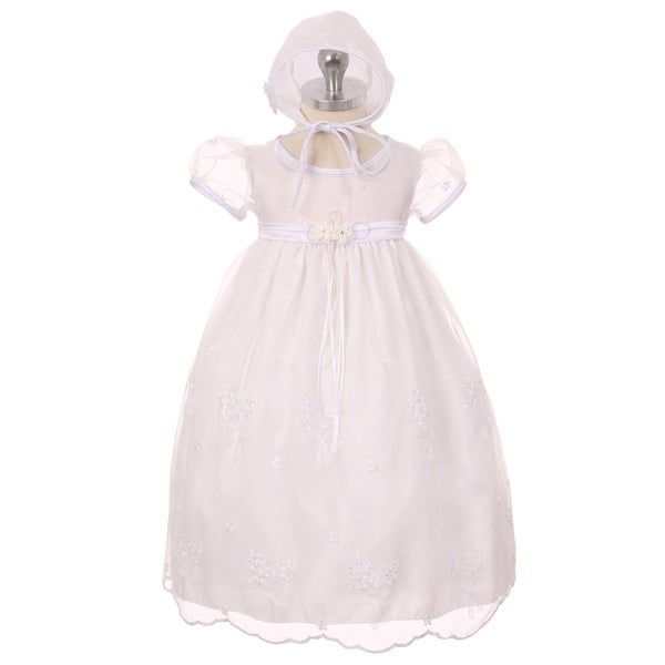 Kids Dream Baby Girls White Organza Embroidered Bonnet Christening Dress