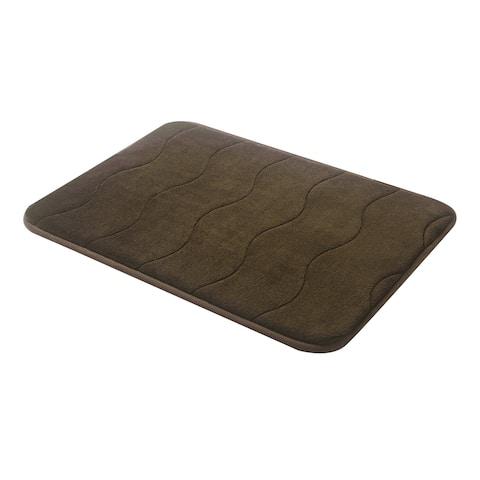 "Brown Wave Stitched Velvet Memory Foam Bath Runner 24""x60"" Fast Drying Non Slip"
