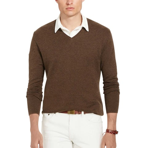 Polo Ralph Lauren Pima Cotton Herringbone V-Neck Sweater Brown Medium M