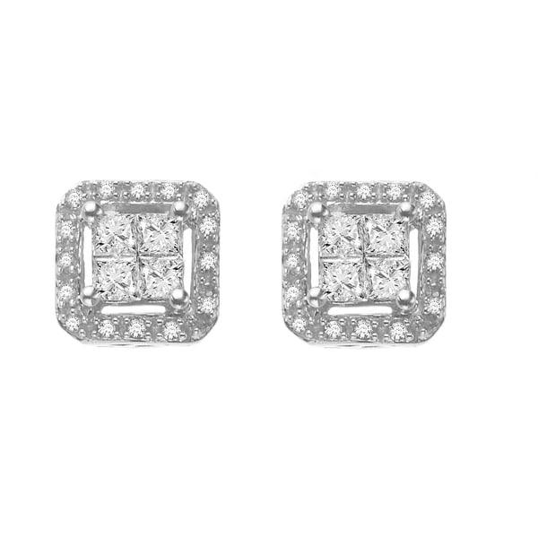 3/8 ct Diamond Square Earrings in 14K White Gold