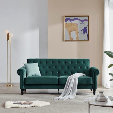 Nestfair Upholstered Velvet Fabric Tufted Sofa with Scroll Arms