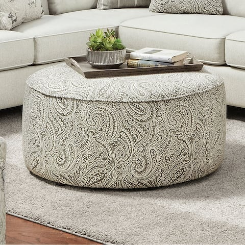 Furniture of America Restian Transitional Ivory Chenille Ottoman
