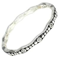 Antique Silver Plated Retro Style & CZ Brass Bangle - Inside Circumference: 6""