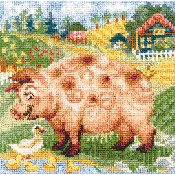 "The Farm Piglet Counted Cross Stitch Kit-8""X8"" 10 Count"